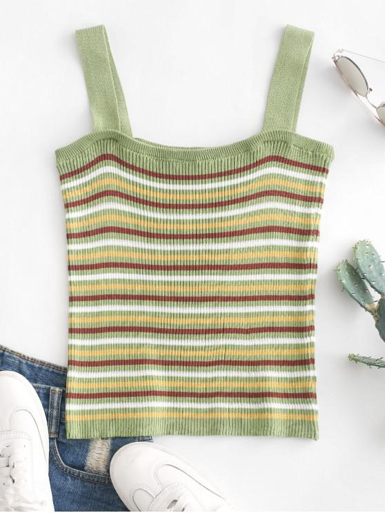 affordable Knitted Ribbed Stripes Tank Top - MULTI ONE SIZE