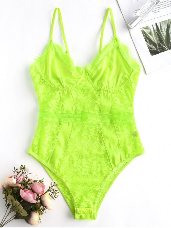 new Lace Insert Cami Lingerie Teddy - CHARTREUSE L