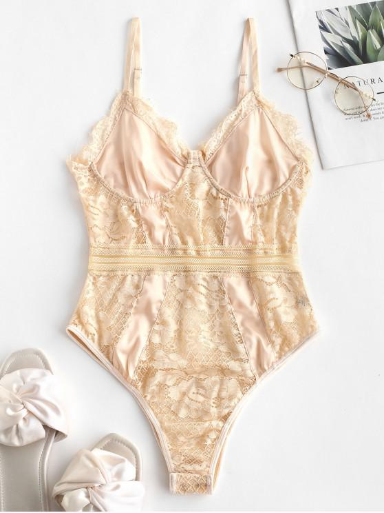 women's Lace Insert Cami Lingerie Teddy - CHAMPAGNE L