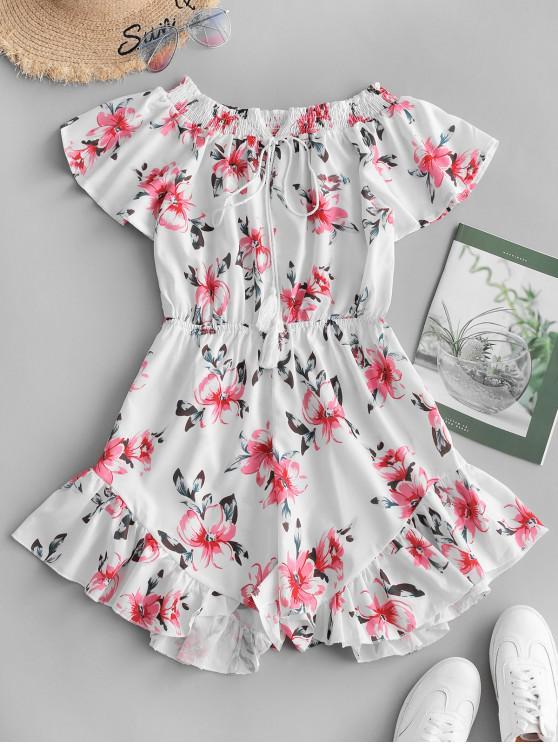 fashion Floral Print Ruffle Hem Wide Leg Romper - WHITE XL