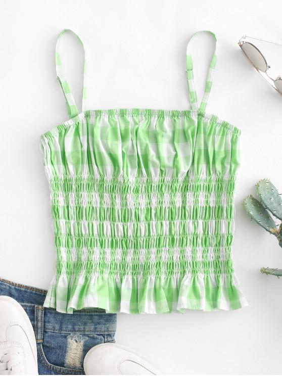 ladies Ruffles Plaid Smocked Cami Top - GREEN S