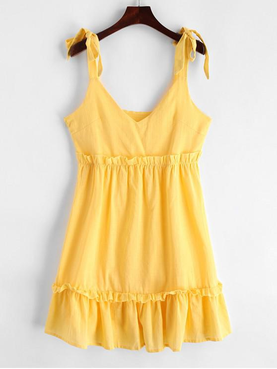 trendy Tied Straps Ruffles A Line Mini Dress - YELLOW L