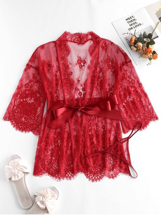 women Satin Belt Scalloped Sheer Lace Robe - RED WINE M