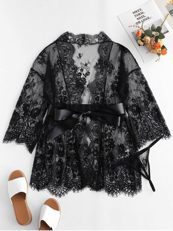 trendy Satin Belt Scalloped Sheer Lace Robe - BLACK L