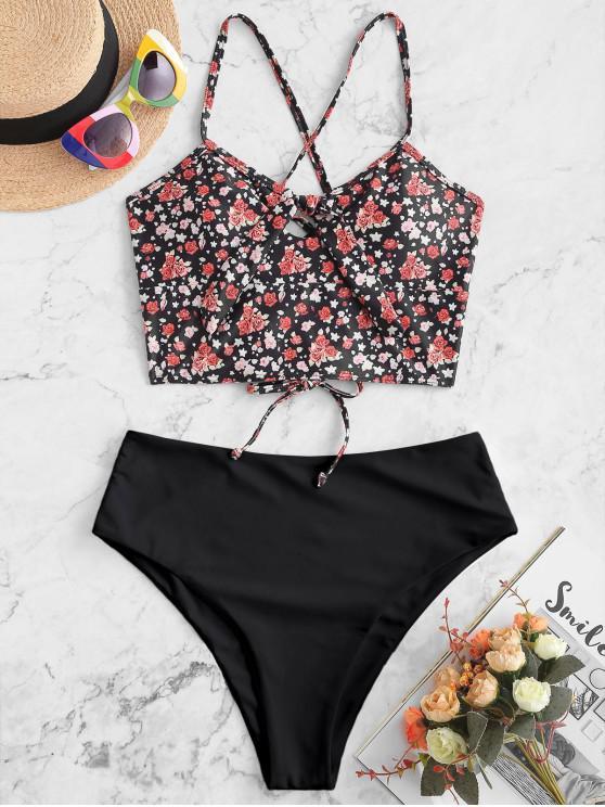 ladies ZAFUL Ditsy Print Keyhole Tied Lace Up Tankini Swimsuit - BLACK S