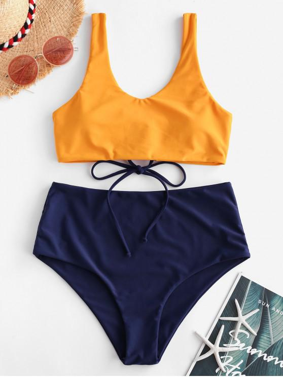 chic ZAFUL Lace-up Mix and Match Tank Bikini Swimsuit - LAPIS BLUE L