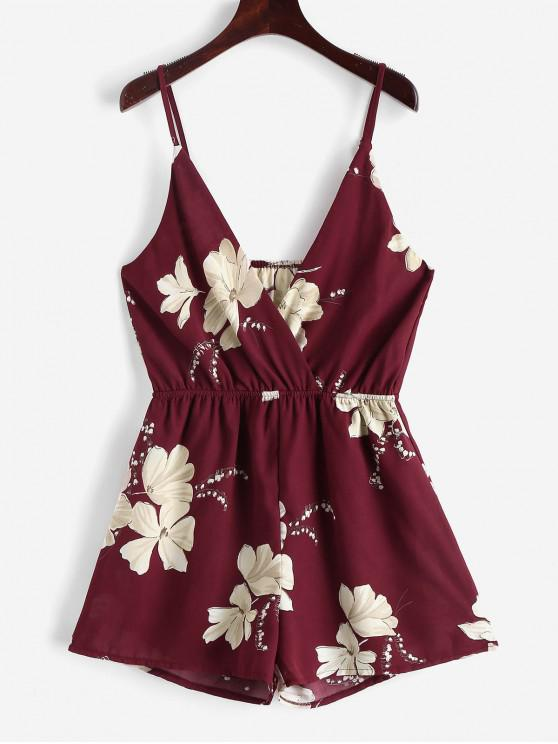 outfit ZAFUL Cami Surplice Floral Romper - RED WINE M