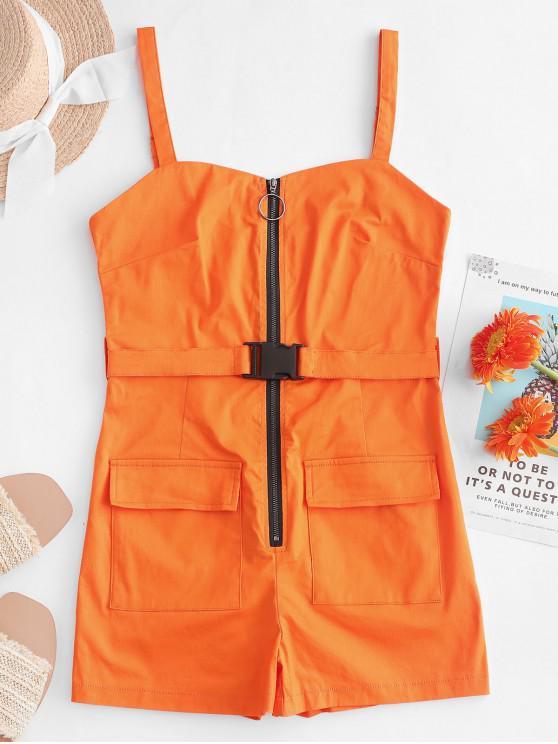 Barboteuse Ceinturée Zippée Bouclée avec Poche - Orange Citrouille L