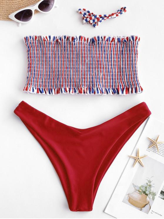 ZAFUL Ensemble de Bikini Rayé Plissé Multicolore à Lacets - Rouge Lave M