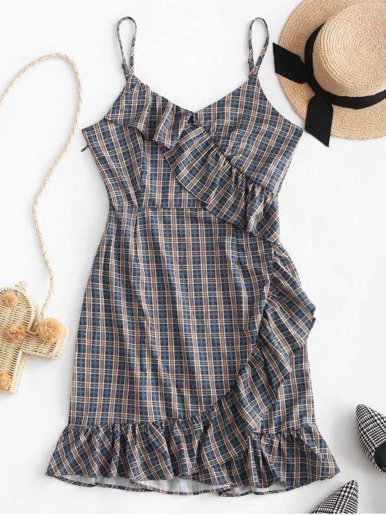 shop Plaid Ruffles Cami Mini Dress - MULTI-A L