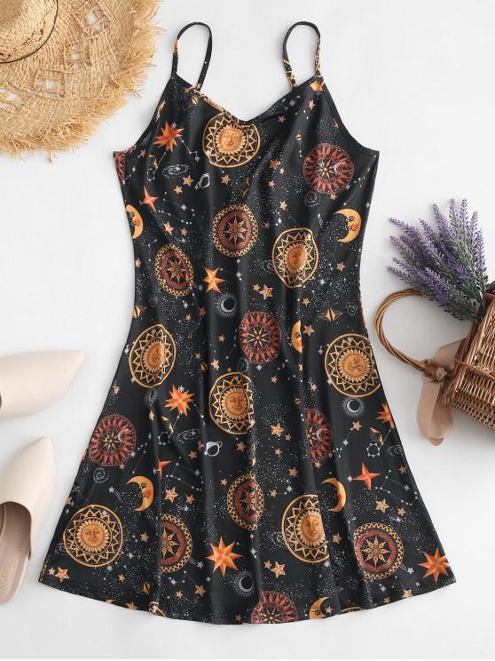 Robe Tunique Courte Imprimée Sans Dos à Bretelle - Multi-B S