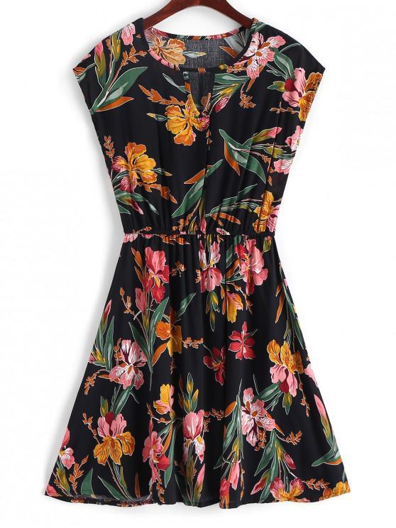 latest Keyhole Floral A Line Mini Dress - BLACK S