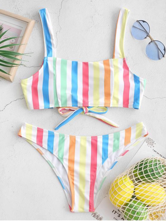 Costume da Bagno Bikini Annodato Indietro a Righe Colorate con Colletto Quadrato di ZAFUL - Multi Colori-A M