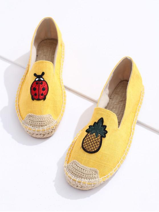 chic Pineapple Embroidery Espadrille Loafer Flats - YELLOW EU 40