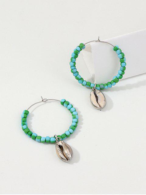 trendy Shell Pendant Beaded Hoop Earrings - CELESTE  Mobile