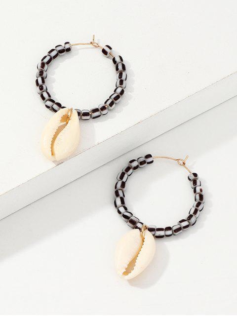 hot Shell Pendant Beaded Hoop Earrings - GRAY  Mobile