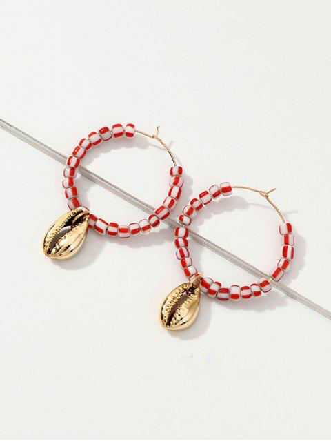 shop Shell Pendant Beaded Hoop Earrings - PINK  Mobile