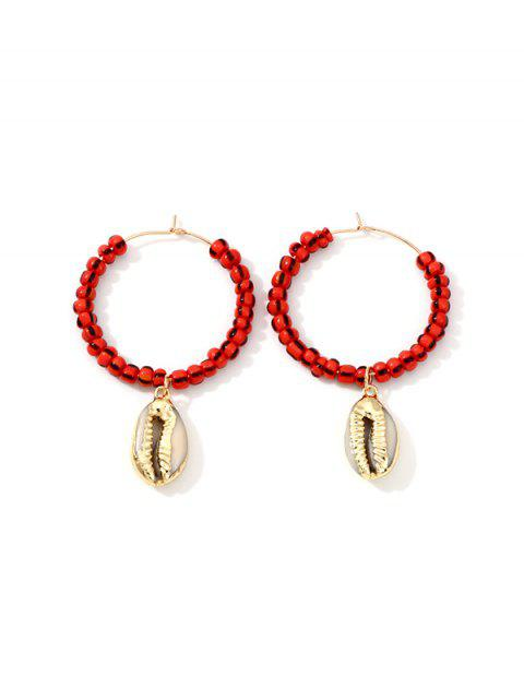 unique Shell Pendant Beaded Hoop Earrings - RED  Mobile