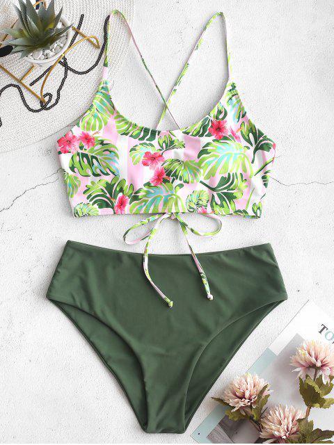 ZAFUL Flower Palm Lace Up Mix and Match Costume da bagno Tankini - Multi Colori-A S Mobile