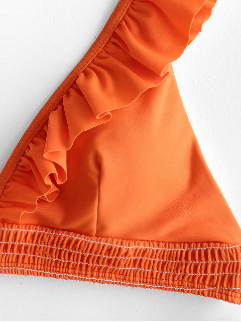 ZAFUL Maillot de Bain Bikini Plongeant Plissé à Volants - Orange Citrouille M Mobile