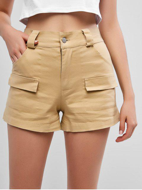 fashion Pockets High Waisted Chino Shorts - COOKIE BROWN L Mobile