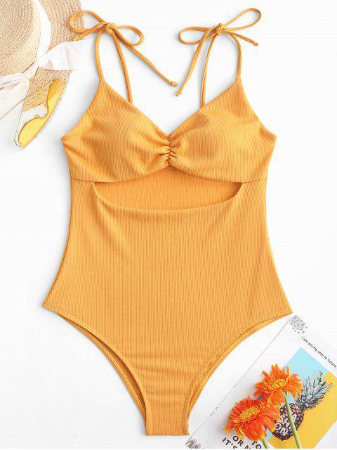 ZAFUL羅紋剪裁領帶肩褶皺泳衣 - 蜜蜂黃色 M Mobile