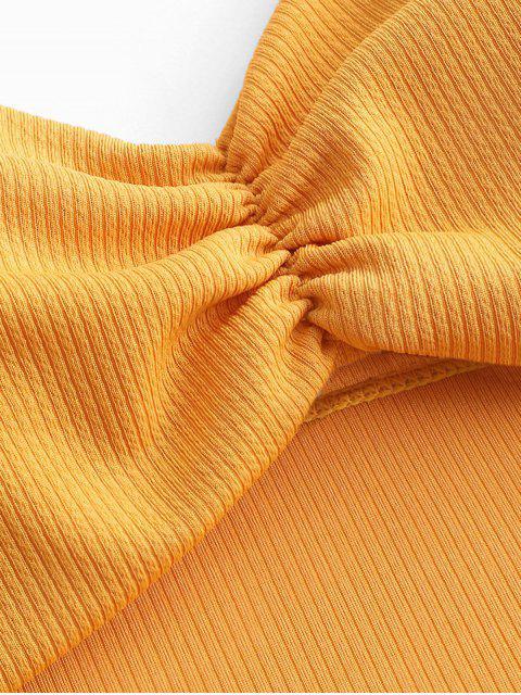 ZAFUL羅紋剪裁領帶肩褶皺泳衣 - 蜜蜂黃色 S Mobile