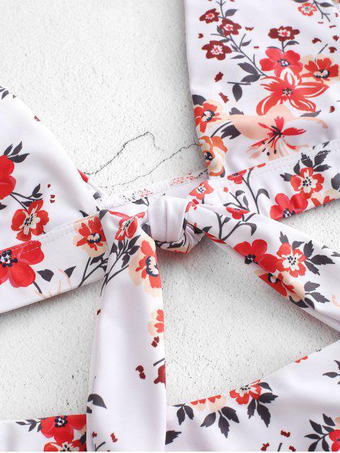 ZAFUL Maillot de Bain Bikini Plongeant Fleur à Volants - Multi-A L Mobile