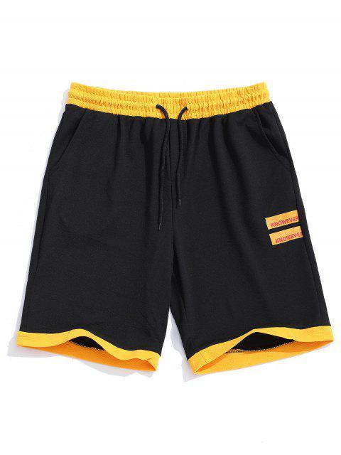 Pantalones cortos con dobladillo de paneles de colores de impresión gráfica de letras - Negro XS Mobile