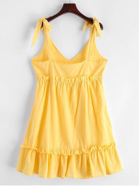 Correas atadas con volantes un mini vestido de línea - Amarillo S Mobile
