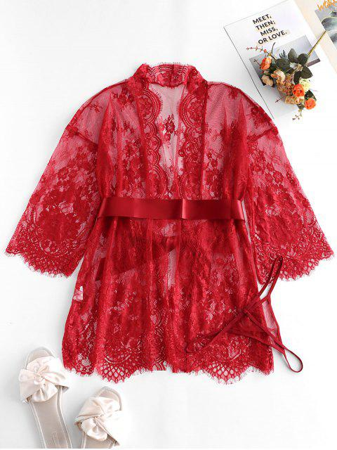 Robe Festonnée en Dentelle Transparente en Satin - Rouge Vineux M Mobile