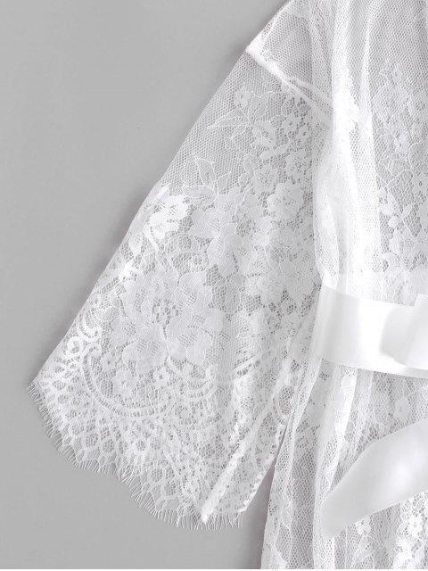 Robe Festonnée en Dentelle Transparente en Satin - Blanc XL Mobile