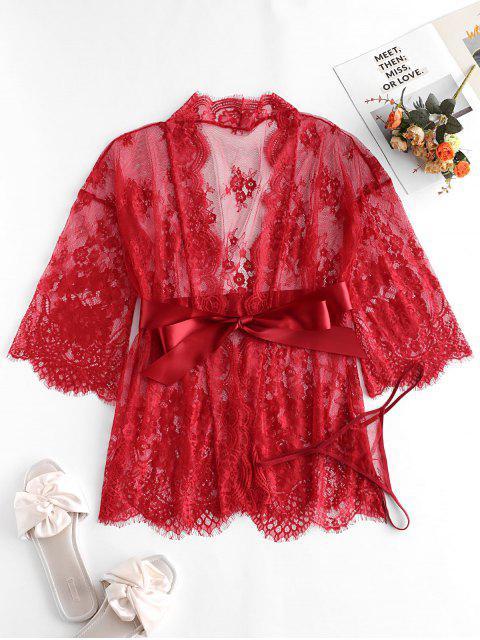 Robe Festonnée en Dentelle Transparente en Satin - Rouge Vineux S Mobile