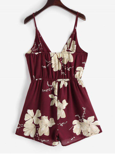 shops ZAFUL Cami Surplice Floral Romper - RED WINE S Mobile