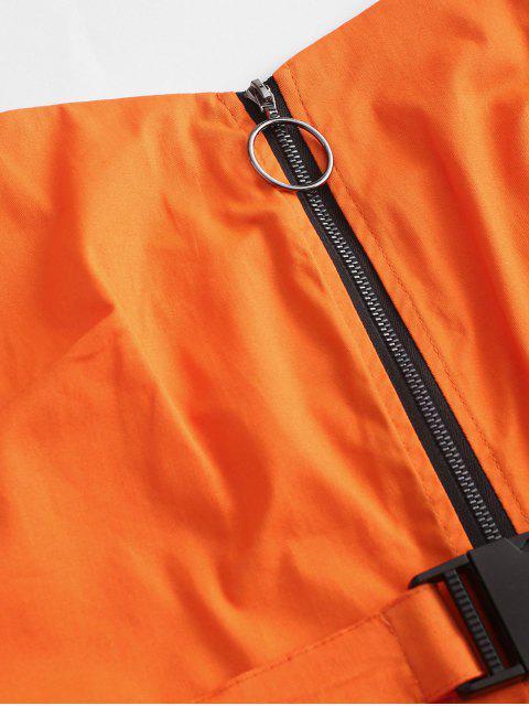 Barboteuse Ceinturée Zippée Bouclée avec Poche - Orange Citrouille S Mobile