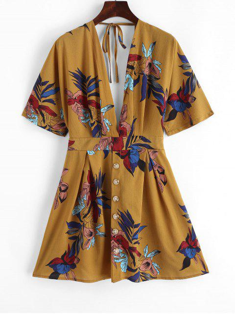 Mini-Robe Kimono Fleurie Boutonnée Nouée - Jaune d'Abeille L Mobile