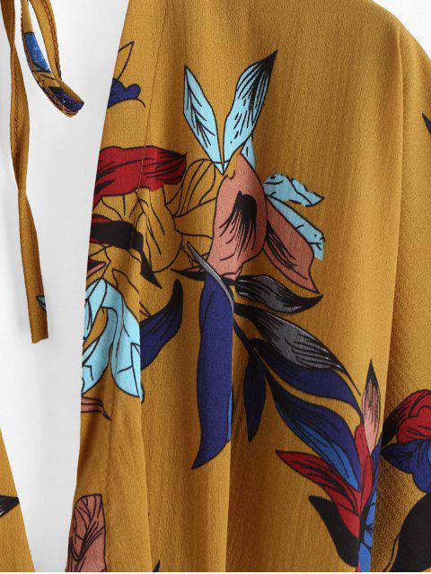 Mini-Robe Kimono Fleurie Boutonnée Nouée - Jaune d'Abeille S Mobile