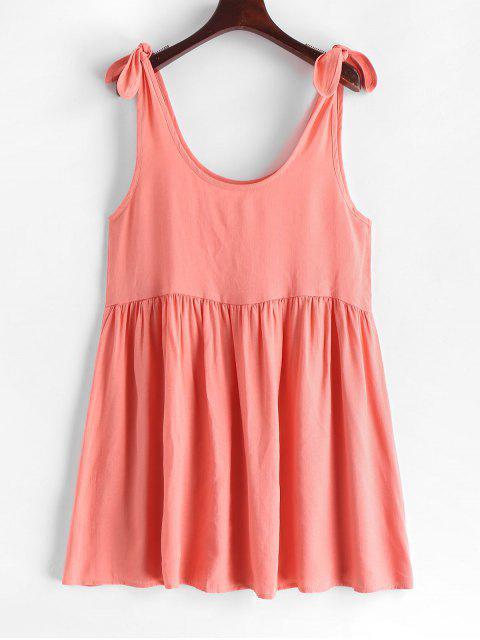 Robe à Epaule Nouée en Couleur Unie Sans Manches - Rose Rosé XL Mobile