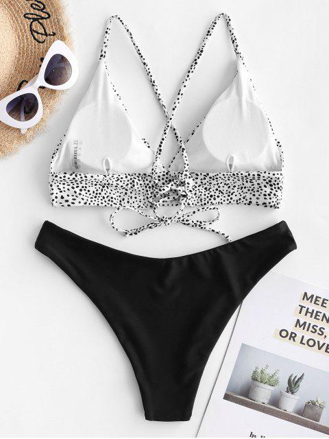 best ZAFUL Dalmatian Dot Crisscross High Leg Bikini Swimsuit - BLACK M Mobile