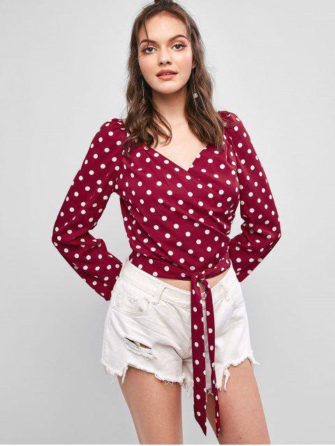 chic V Neck Polka Dot Crop Wrap Blouse - RED L Mobile