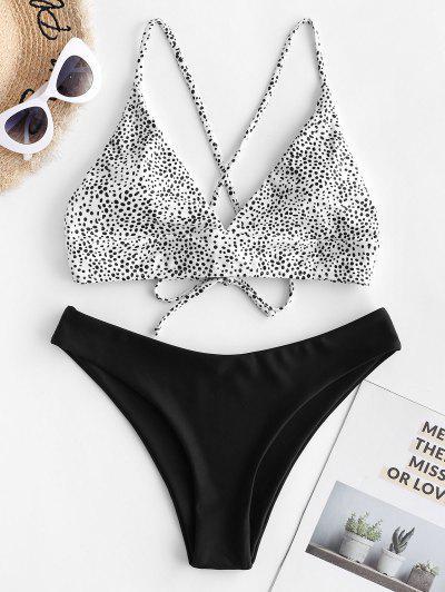 ZAFUL Dalmatian Dot Crisscross High Leg Bikini Swimsuit - Black M