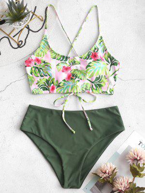 ZAFUL Flower Palm Lace Up Mix And Match Tankini Swimwear - Multi-a S