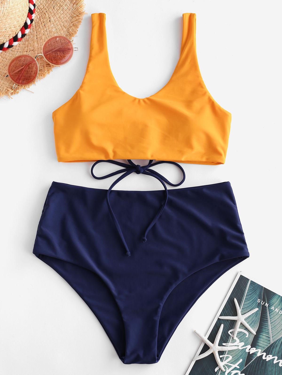 ZAFUL Lace-up Mix and Match Tank Bikini Swimsuit, Lapis blue