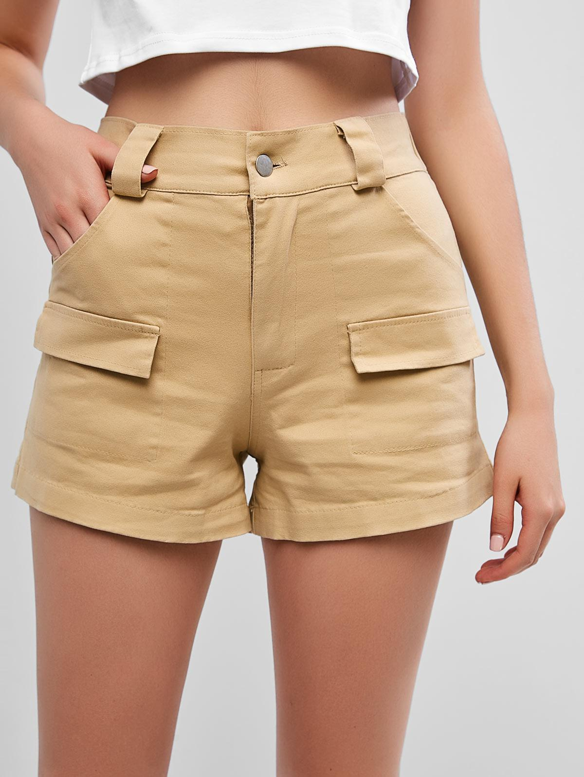 Pockets High Waisted Chino Shorts, Cookie brown