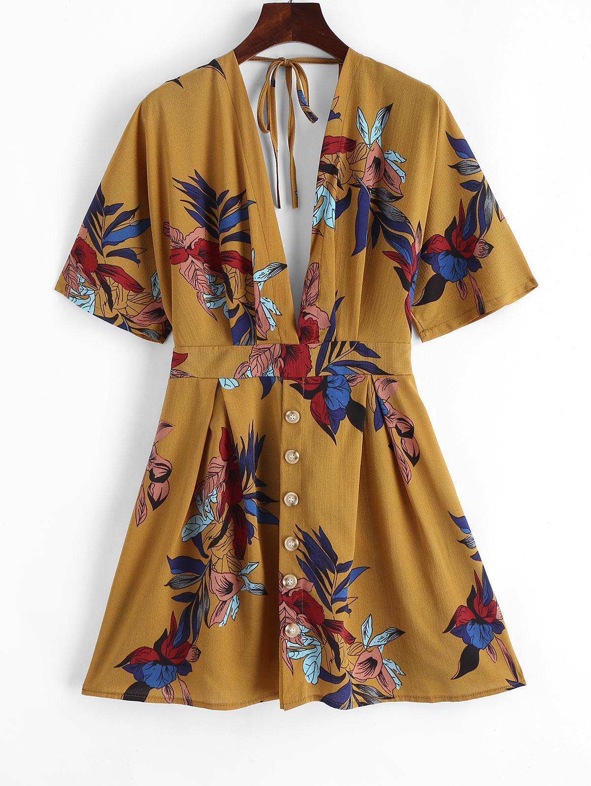 Knotted Buttoned Floral Kimono Mini Dress фото