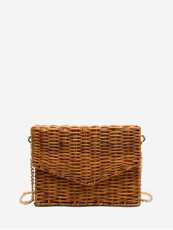 Bolso cuadrado retro Weaving - Caqui
