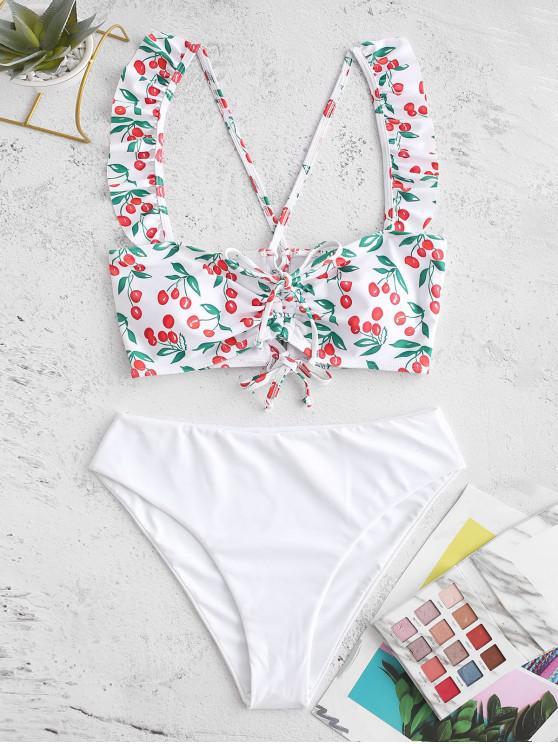 ladies ZAFUL Cherry Cinched Lace Up Ruffle Tankini Swimsuit - WHITE XL
