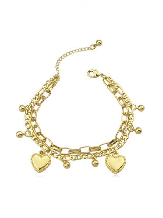 Pulsera de cadena del encanto del corazón - Oro