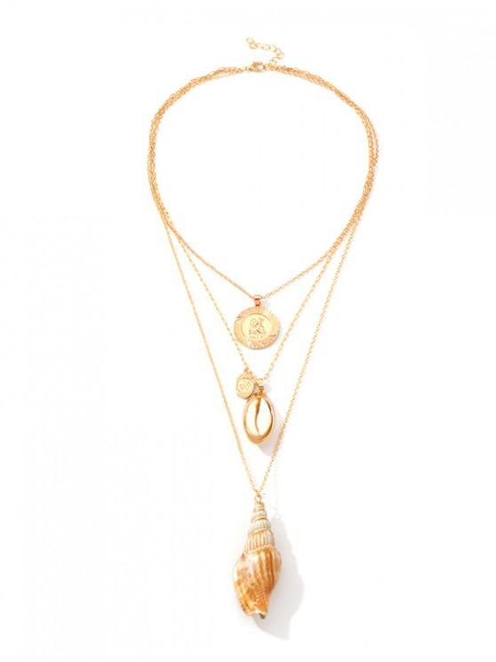 sale Shell Conch Pendant Multilayered Chain Necklace - GOLD