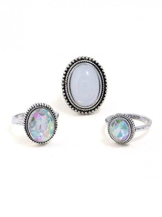 best 3Pcs Retro Oval Faux Gemstone Ring Set - SILVER